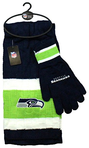 NFL Seattle Seahawks Scarf & Gloves Gift Set, One Size, Blue