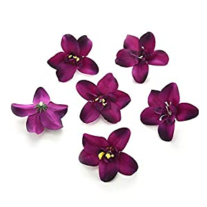 Artificial Flowers Fake Flower Heads in Bulk Wholesale for Crafts Silk Orchid Head Wedding Decoration DIY Party Festival Home Decor Wreath Gift Scrapbooking Craft Flowers 30pcs/lot 7cm (Purple) 1