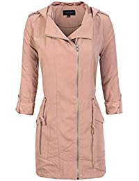ed3d95374e91 Women's Spring Lightweight Faux Suede Zip Up Solid Safari Jacket Coat