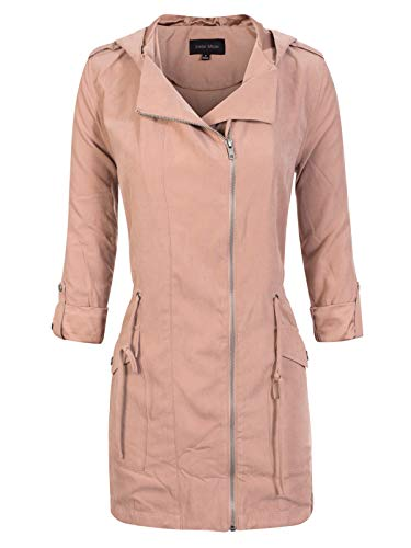 (Instar Mode Women's Spring Lightweight Faux Suede Zip Up Solid Safari Jacket Coat Dusty Rose M)
