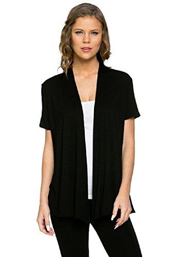 Viosi Women's Short Sleeve Draped Open Front Cardigan Color Black Size Large