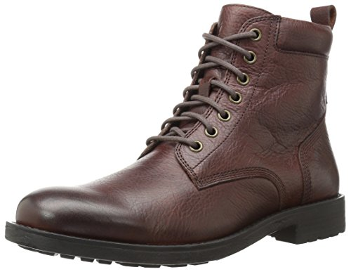 206 Collective Men's Denny Lace-up Motorcycle Boot, Dark Brown, 10 D US
