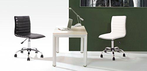BTExpert Swivel Mid Back Armless Ribbed Designer Task Chair Leather Upholstery, White