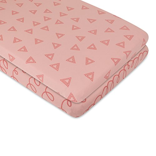 Changing Pad Cover Set Cradle Sheet Set 100/% Cotton Jersey Knit 2 Pack Pink Triangle and Squiggles