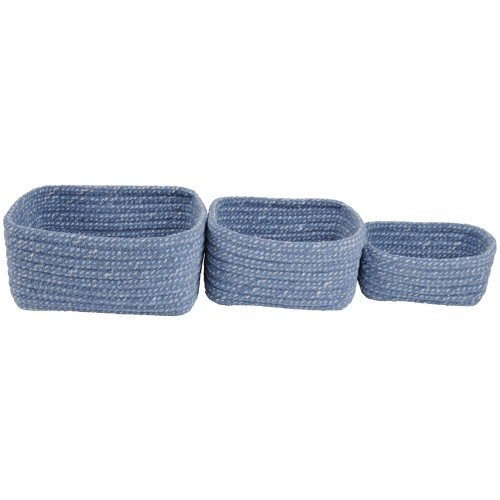Blue Skies Colored Braided Chenille Soft Storage Netsing Bins Set of 3