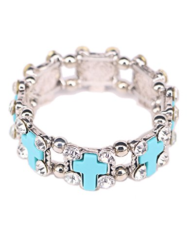Graceful Joy Women's Elastic Stretch Bracelets Vintage Style Cross Cubic-zirconia Beads Strand Wrist Chain