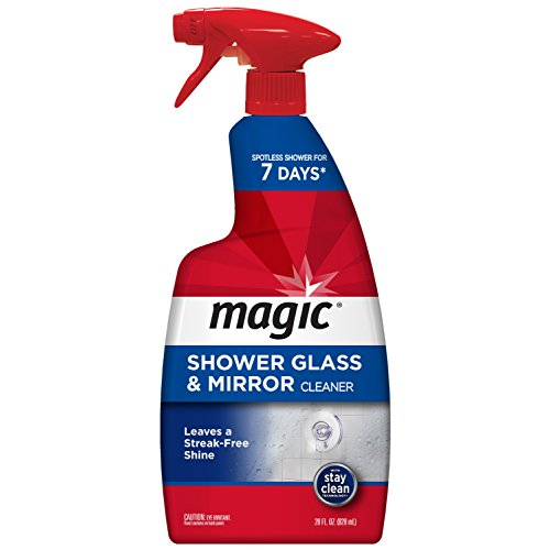 Magic American Glass Cleaner Magic Shower Door Cleaner-28 Ounce-Removes Soap Scum Mildew and Mold Get a Crystal Streak-Less Shine, 28 oz, Red (Best Shower Glass Cleaner)