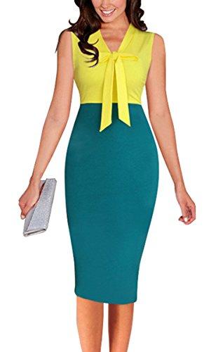 LECHEERS Bodycon Dress Yellow Pencil Formal Women Vintage Sleeveless Elegant Business Eqx8rwE4z