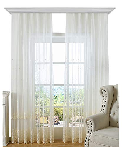 BW0057 Elegance Style Beautiful Lace Sheer Curtain Peach Flower Jacquard Rod Pockets Top Window Decoration Voile Panel for Bath Room Bedroom and Bath Room(1 Panel, W 50 x L 102 inch, Pink) ()