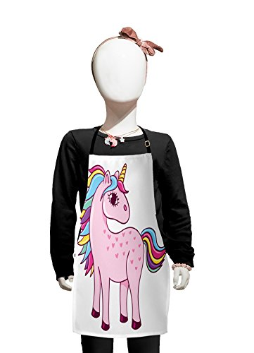 Lunarable Kawaii Kids Apron, Unicorn Design with Rainbow Colored Mare and Tail Childrens Cartoon Style Doodle, Boys Girls Apron Bib with Adjustable Ties for Cooking Baking and Painting, Baby - Bib Apron Style Childrens