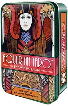 Novelty Toys Tarot Cards Art Deco Aquarian Deck Medieval Symbolism In Modern Age in Tin Storage Box