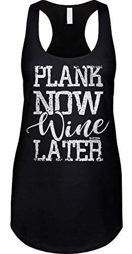 Blittzen Womens Tank Plank Now Wine Later, M, Black