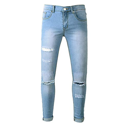(Weiyun Pants Men's Stretchy Ripped Skinny Biker Jeans Destroyed Taped Slim Fit Denim)