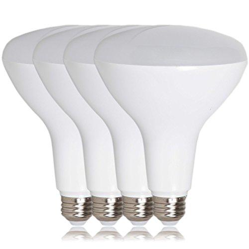Maxxima LED BR40 75 Watt Equivalent Dimmable Light Bulb 12 Watt LED Light Bulb Warm White 1100 Lumens, Flood Light Energy Star, 3000K (Pack of 4)