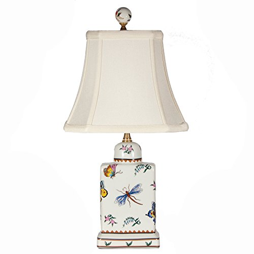 Butterfly Dragonfly Pattern Rectangular Porcelain Table (Style Dragonfly Pattern)