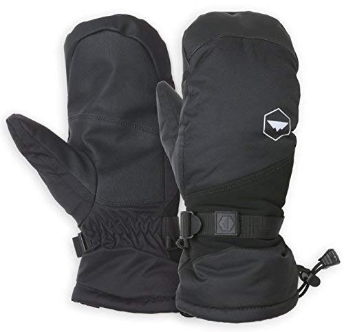 Winter Snow & Ski Mittens with Wrist Leashes - Mitts Designed for Skiing, Snowboarding, Shoveling - Waterproof Nylon Shell, Thermal Insulation & Synthetic Leather Palm - Fits Men & Women