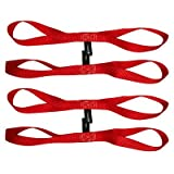 "Pit Posse PP167R2 18"" Inch Soft Touch Loops Straps Extension Tie Down 4500Lbs Bs Motorcycle ATV Tie Red - 2 Pair"