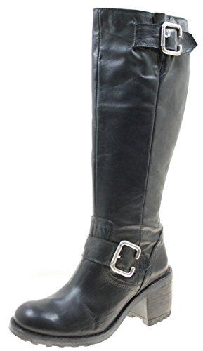 Botas De Calçados Femininos Cor Genuína Couro Preto Com Zíper Lateral