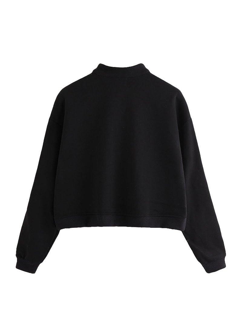 1142dbc4a2b60 Amazon.com  ROMWE Women s Zip Front High Neck Tape Striped Detail Crop  Sweatshirt  Clothing