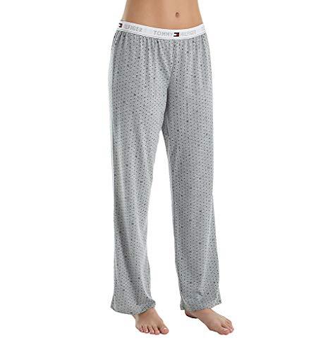 (Tommy Hilfiger Women's Logo Bottom Lounge Pajama Pant Pj, Grey Heather The dot, Large)