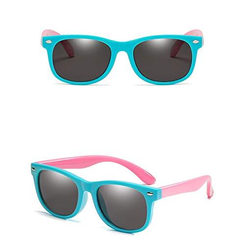 Kids Sunglasses Children Polarized Lenses Glasses Girls Boys Silicone Child Mirror Baby Eyewear,Light Blue Pink