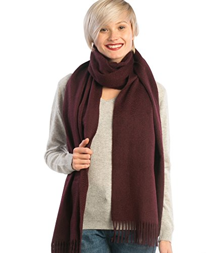 Cashmere 4 U's Woman 100% Cashmere XL Woven Stole with Fringes