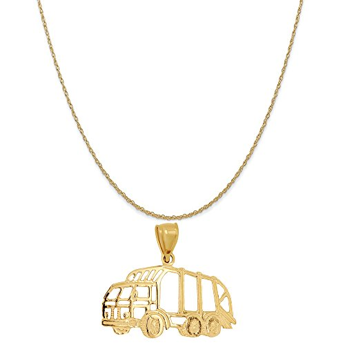 14k Yellow Gold Dump Truck Pendant on a 14K Yellow Gold Rope Chain Necklace, 18