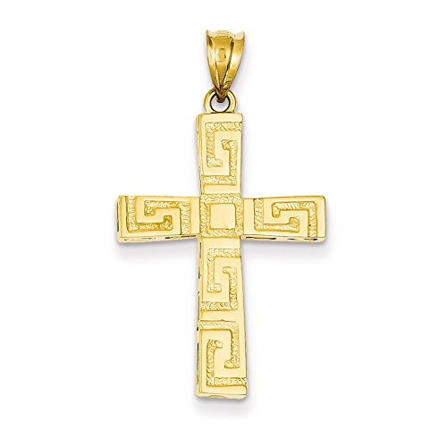 Lex & Lu 14k Yellow Gold Greek Key Cross Pendant-Prime