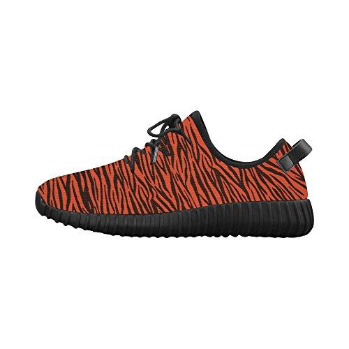 D-story Custom Arancione Zebra Stripes Grus Womens Tessuto Traspirante Scarpe Da Corsa (modello 022)
