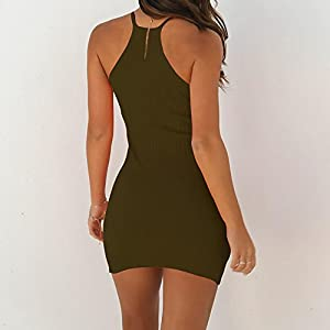 Tosonse Womens Sleeveless Sexy Club Party Bandage Dresses Spaghetti String Mini Dress