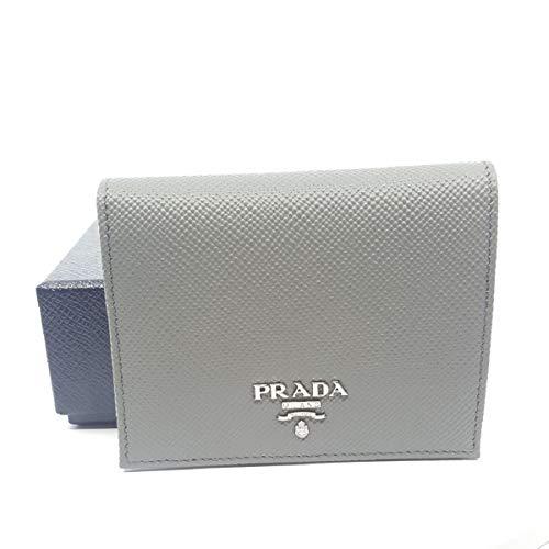 Prada Portafoglio Verticale Marmo Grey Saffiano Cuir Leather Flap Wallet 1MV204