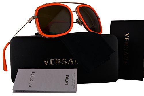 Versace VE2173 Sunglasses Pale Gold Orange w/Brown Lens 138973 VE - Versace Sale Women's Sunglasses