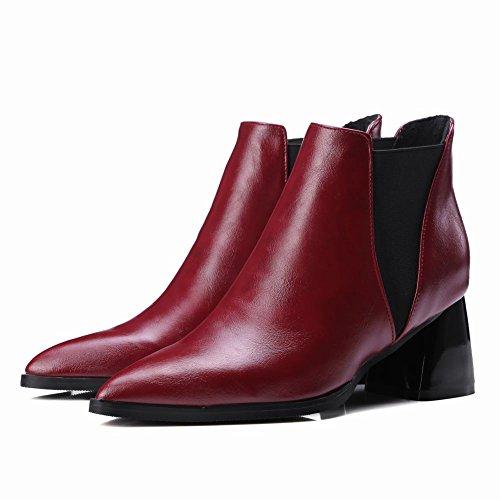 puntiagudo tacón del pie botines modernas las del dedo conciso vino Carolbar medio mujeres rojo zxIPqxRa