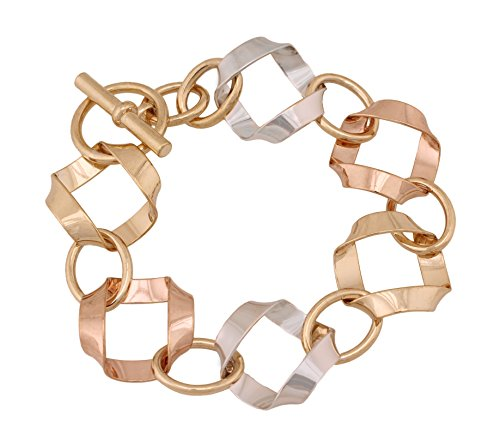 (14k Gold Plated Chunky Bracelet for Cuff Toggle Bracelet for Women and Men - 7 inches)