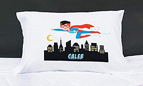 Qualtry Personalized for Toddler Kids, Boys and Girls - Unique Customized Pillow Cases, Standard Size 21 x 31 (for Boys, Superhero Caleb Design)
