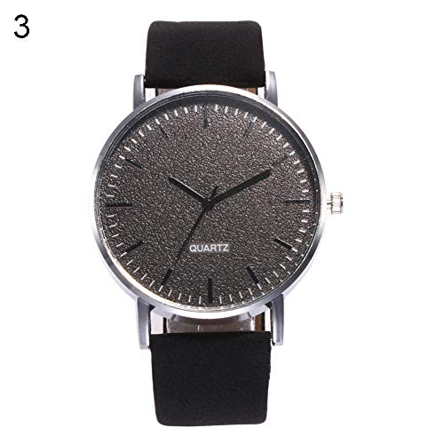 (Afco Men Women Round Dial Number Free Quartz Faux Leather Band Wrist Watch)