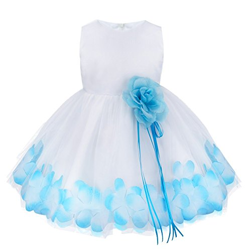 FEESHOW Baby Girl Petals Flower Wedding Princess Party Christening Baptism Dress (Big Poofy Dresses)