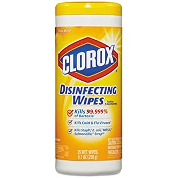 CLO01594 - Lemon Scent Disinfecting Wet Wipes, Cloth, 7 X 8