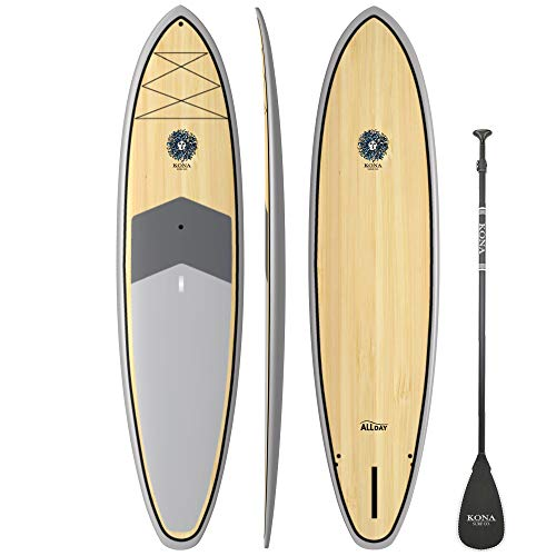 Bamboo Paddle Board - KONA SURF CO. All Day SUP Standup Paddleboard SUP Package Includes Adjustable Paddle, Center Fin, and Quality Leash in Bamboo/Grey/Bamboo sz:10ft 6in