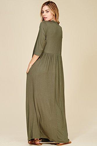 3/4 Manches Longues Robes Maxi Poches Latérales D'olive Lumière Des Femmes Annabelle
