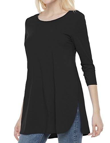 Long 3/4 Sleeve Tunic Sleeve (Ortilerri Womens 3/4 Sleeve T-shirt Casual Loose Tunic Top(Black,XL))