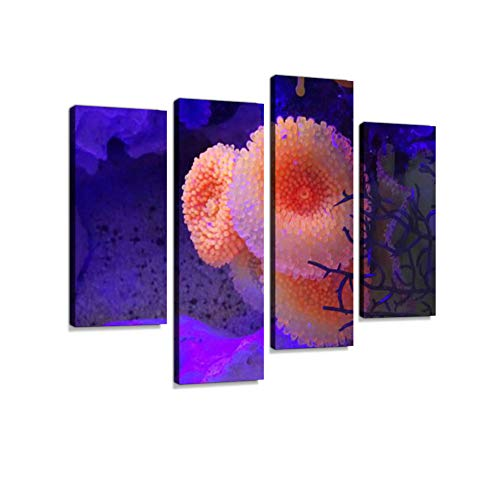 Image of Marine Fish-Tank Aquarium with Plastic neon Coral/Anemones Canvas Wall Art Hanging Paintings Modern Artwork Abstract Picture Prints Home Decoration Gift Unique Designed Framed 4 Panel