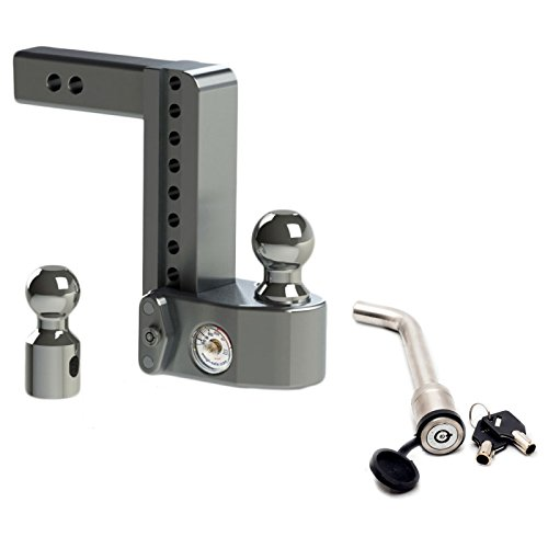 Weigh Safe WS8-2 Adjustable 8'' Drop Hitch Mount 2'' Shaft w/ KEYED-ALIKE 3-1/2'' x 5/8'' Hitch Locking Pin by Weigh Safe