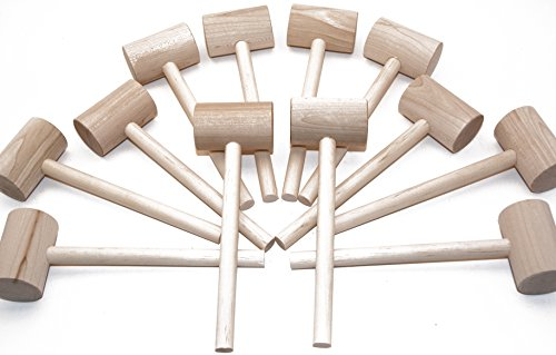 Wooden Crab (Beall's Bay 12 Pack Crab or Lobster Mallets with Off-Season Storage Box)