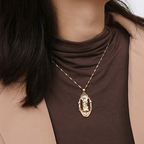 (Yalice Blessed Virgin Pendant Necklace Chain Hollow Medallion Necklaces Religious Jewelry for Women and Girls (Gold))