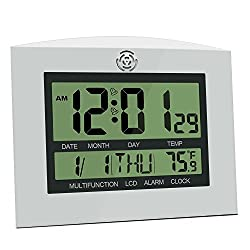 HeQiao Digital Wall Clocks, 12 Inch Large Decorative Silent Desk Clock Battery Operated Easy to Read Large LCD Alarm Clock with Calendar Temperature for Office Home (Black w/Silver)