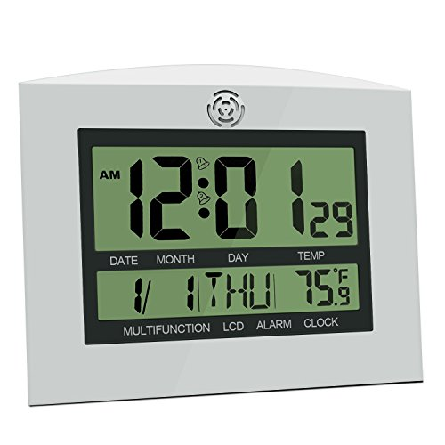 HeQiao Digital Wall Clock Large Decorative Silent Desk Shelf Clock Battery Operated Large LCD Temperature Calendar Alarm Clock for Home Office (12 Inch, 2 Alarms) (Silver W/Black) Digital Classroom Clock