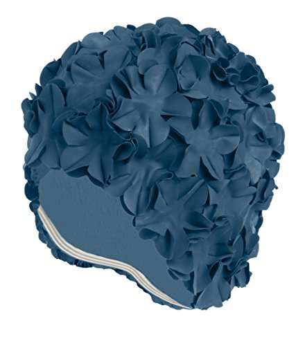 (Latex Swim Cap - Women Stylish Swimming Cap Great for Ladies, Perfect to Keep Hair Dry - Suitable for Long Hair - Flowal Petal Vintage Style - Royal Blue)