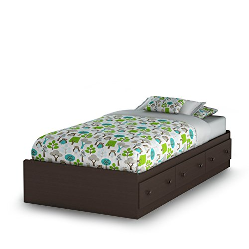 Wood Oak Kids Beds - South Shore Summer Breeze Collection Twin Bed with Storage - Platform Bed with 3 Drawers - Chocolate