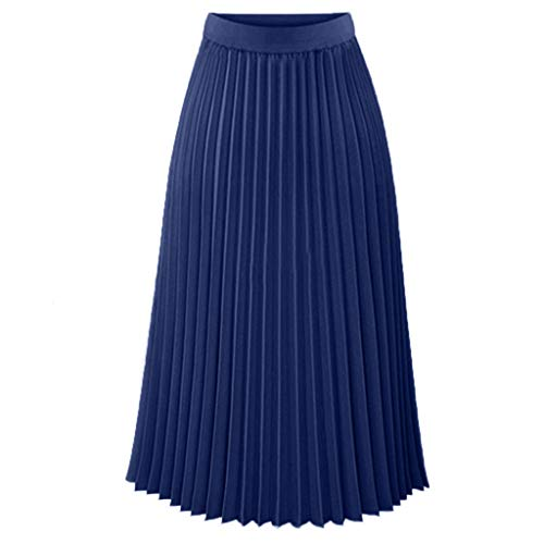 Women Bohemian Style Elastic Waist Band Cotton Linen Long Maxi Skirt Dress ()